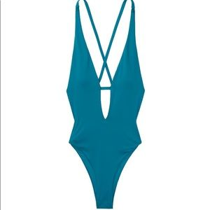 VS V-Plunge Teal One Piece Bathing Suit, XS